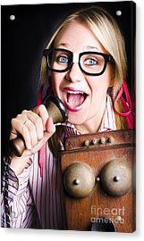 Nerdy Pr Business Person Making Announcement Acrylic Print by Jorgo Photography - Wall Art Gallery