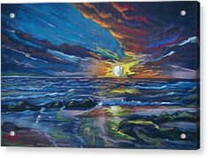 Acrylic Print featuring the pastel Never Ending Sea by Peter Suhocke