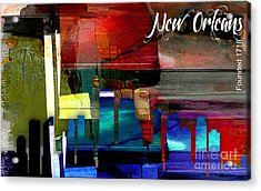 New Orleans Skyline Watercolor Acrylic Print by Marvin Blaine