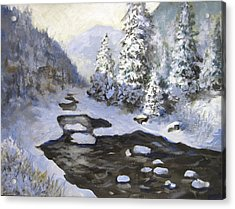 Acrylic Print featuring the painting New Snow by Carol Hart