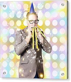 New Years Eve Man Celebrating At A Countdown Party Acrylic Print by Jorgo Photography - Wall Art Gallery