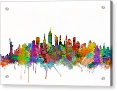 New York City Skyline Acrylic Print by Michael Tompsett