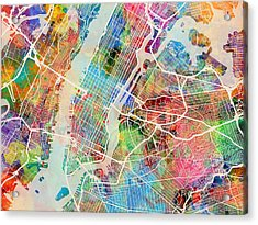 New York City Street Map Acrylic Print by Michael Tompsett