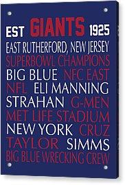 New York Giants Acrylic Print by Jaime Friedman