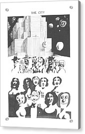 New Yorker February 24th, 1973 Acrylic Print by Saul Steinberg