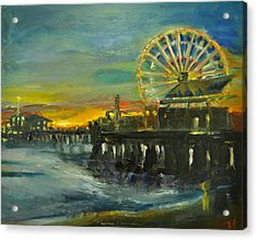 Nighttime Pier Acrylic Print by  Lindsay Frost