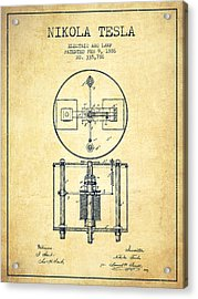 Nikola Tesla Patent Drawing From 1886 - Vintage Acrylic Print by Aged Pixel