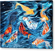 Good  Luck Painting. Nine Koi Fish. Inspirations Collection. Acrylic Print