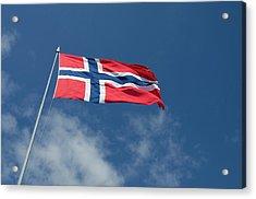 Norway, Bergen Norway Flag Acrylic Print by Cindy Miller Hopkins
