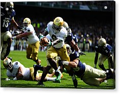 Notre Dame Versus Navy Acrylic Print by Mountain Dreams