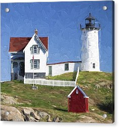 Nubble Lighthouse Maine Painterly Effect Acrylic Print by Carol Leigh