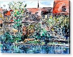 Acrylic Print featuring the painting Nuremberg Southern Riverside Of Pegnitz by Alfred Motzer