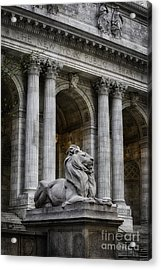 Ny Library Lion Acrylic Print by Jerry Fornarotto