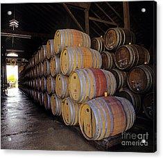 Oak Barrels At Ventana Vineyards Acrylic Print