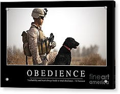 Obedience Inspirational Quote Acrylic Print by Stocktrek Images