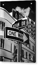 Ocean Drive And 6th Street In The Art Deco District Of Miami South Beach Florida Usa Acrylic Print by Joe Fox