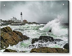 Ocean Storm At Portland Head Acrylic Print