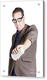 Office Worker Pouring Out Drink. Bad Coffee Acrylic Print