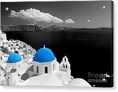 Oia Town On Santorini Island Greece Blue Dome Church Black And White. Acrylic Print
