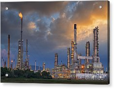 Oil Refinery Along Twilight Sky Acrylic Print