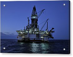 Oil Rig At Night Acrylic Print