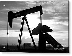 Oil Well Pump Jack Black And White Acrylic Print