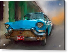 Acrylic Print featuring the photograph Old Blue Car by Juan Carlos Ferro Duque