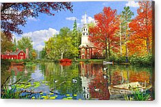 Old Church At Autumn Lake Acrylic Print by Dominic Davison