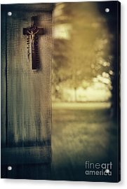 Old Cross Of Window Shutter Door Acrylic Print by Sandra Cunningham