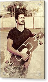 Old Grunge Photo Of A Cool Male Skater Acrylic Print by Jorgo Photography - Wall Art Gallery