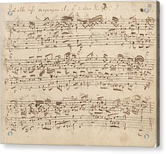 Old Music Notes - Bach Music Sheet Acrylic Print by Tilen Hrovatic