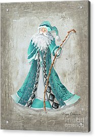 Old World Style Turquoise Aqua Teal Santa Claus Christmas Art By Megan Duncanson Acrylic Print by Megan Duncanson