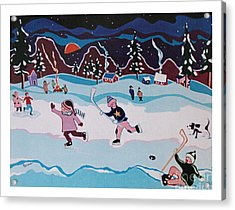 Acrylic Print featuring the painting On Frozen Pond by Joyce Gebauer