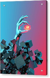 Online Data Security Acrylic Print by Victor Habbick Visions