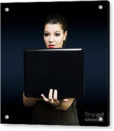 Online Female Business Woman Working On Laptop Acrylic Print by Jorgo Photography - Wall Art Gallery