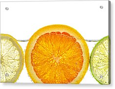 Orange Lemon And Lime Slices In Water Acrylic Print by Elena Elisseeva