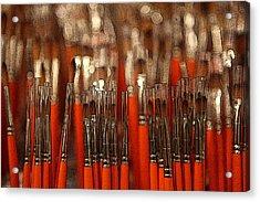 Orange Paintbrushes Acrylic Print