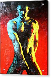 Original Abstract Oil Painting Art-male Nude By Kinfe Acrylic Print