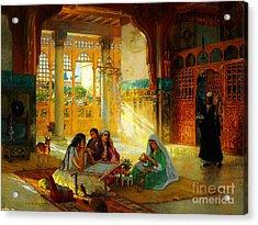 Ottoman Daily Life Scene Acrylic Print by Frederick Arthur Bridgman
