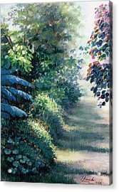 Acrylic Print featuring the painting Our Garden by Laila Awad Jamaleldin