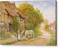 Outside The Village Inn Acrylic Print by Arthur Claude Strachan