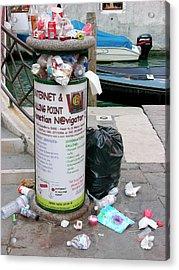 Overflowing Litter Bin Acrylic Print
