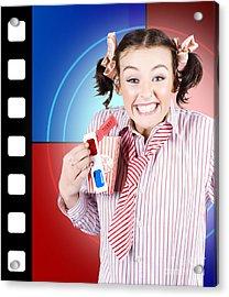Overjoyed Nerd Woman At 3d Movie Premier Acrylic Print