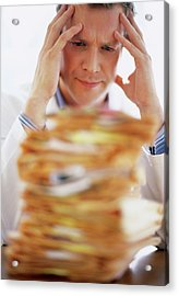 Overworked Doctor Acrylic Print by Ian Hooton/science Photo Library