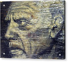 Pablo Picasso Face Portrait - Painting On The Wood Acrylic Print by Nenad Cerovic