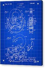 Padlock Patent 1935 - Blue Acrylic Print