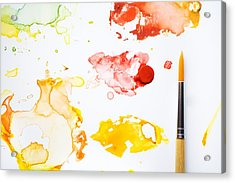 Paint Splatters And Paint Brush Acrylic Print by Chris Knorr