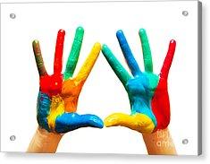 Painted Hands Acrylic Print by Michal Bednarek
