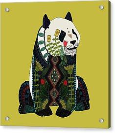 Panda Ochre Acrylic Print by Sharon Turner