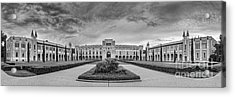 Panorama Of Rice University Academic Quad Black And White - Houston Texas Acrylic Print